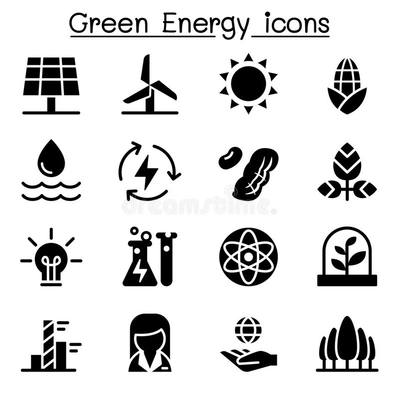 Grünes Energieikonenset lizenzfreie abbildung