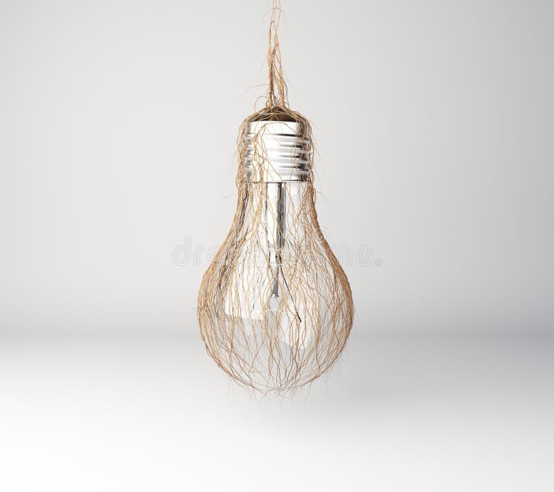 Grünes Energiekonzept mit Glühlampe und Gras lizenzfreie stockbilder