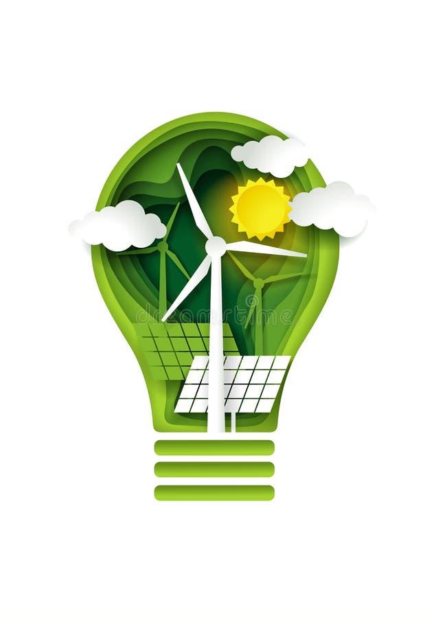 Grünes Energiekonzept, Vektorpapier-Schnittillustration stock abbildung