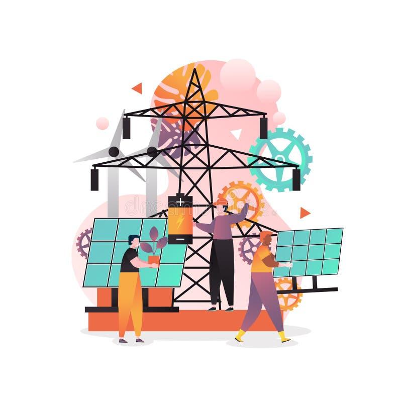Grünes Energieträgerkonzept für Netzfahne, Websiteseite vektor abbildung