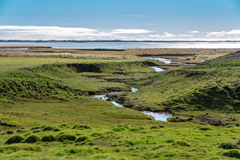 Grünes Feld mit einem Strom, der oben im Atlantik beendet lizenzfreie stockfotografie