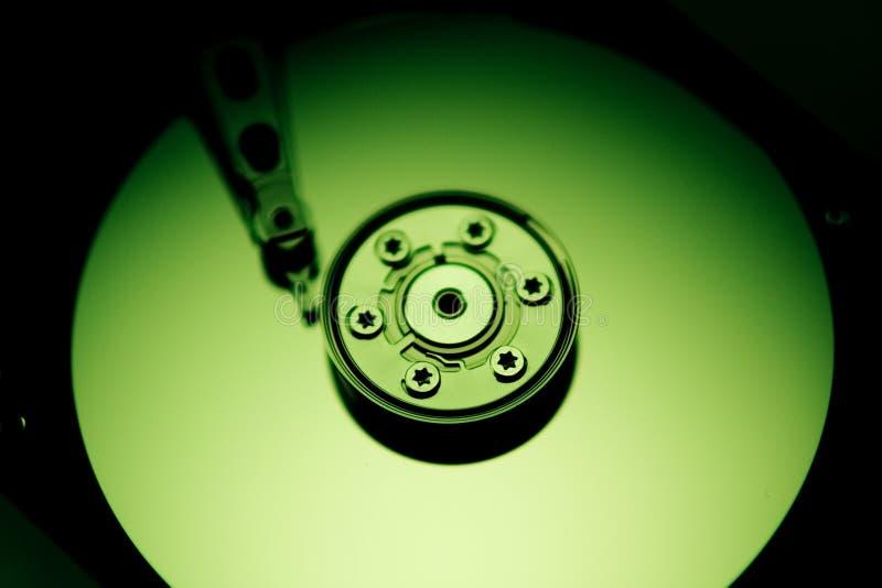 Grünes Festplattenlaufwerk stockfoto