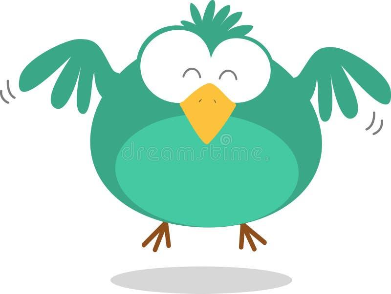 Grünes Fett-Vogel-Flugwesen lizenzfreie abbildung