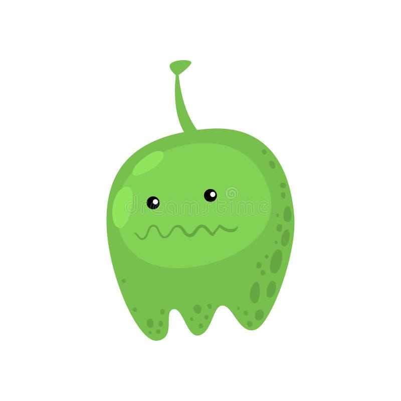 Grünes fettes Viren- oder bakterielles Monster in der Mikrobiologie gegen Weiß stock abbildung