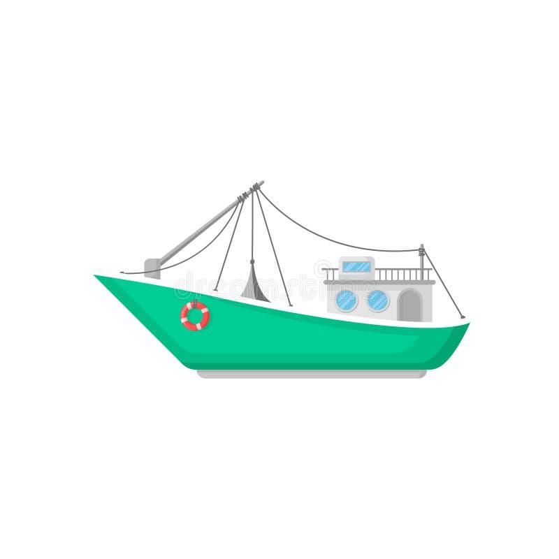 Grünes Fischerboot mit Schleppnetznetz und -Rettungsring Schiff für industrielle Meeresfrüchteproduktion Flache Vektorikone der W stock abbildung