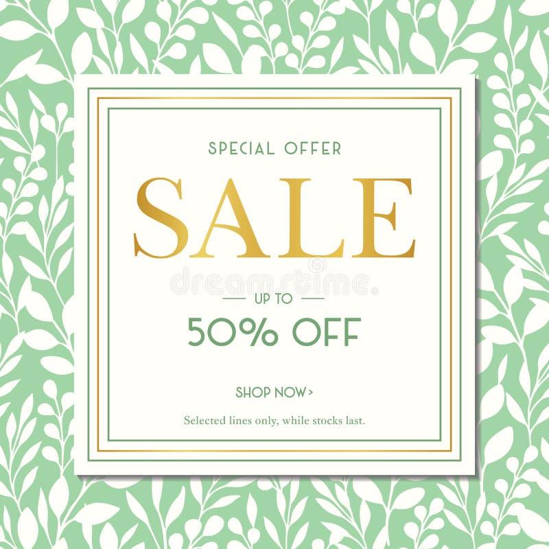 Grünes Frühlings-Sommer-Laub silhouettiert Verkaufsförderungs-quadratische Fahne Social Media-Anzeigen-Grafiken Abstrakter Blumen stock abbildung
