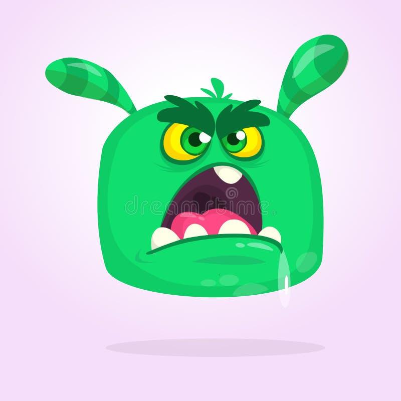 Grünes gehörntes Monster der Karikatur mit verärgertem Ausdruck öffnete Mund voll des Speichels Vektorabbildung getrennt stock abbildung