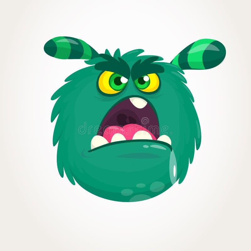 Grünes gehörntes Monster der Karikatur mit verärgertem Ausdruck öffnete Mund voll des Speichels Vektorabbildung getrennt vektor abbildung