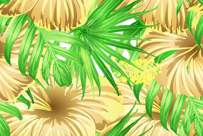 Grünes gelbes exotisches Muster vektor abbildung