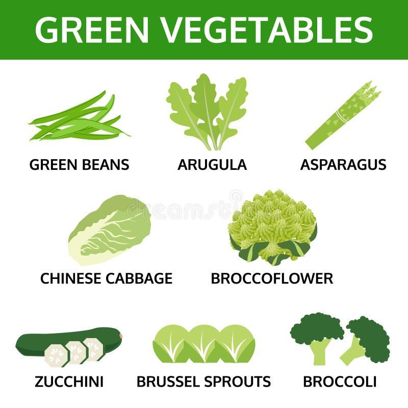 Grünes Gemüse Sammlung, Informationsgraphiklebensmittel stock abbildung
