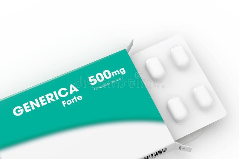 Grünes generica medizinischer Pillekasten lizenzfreie abbildung