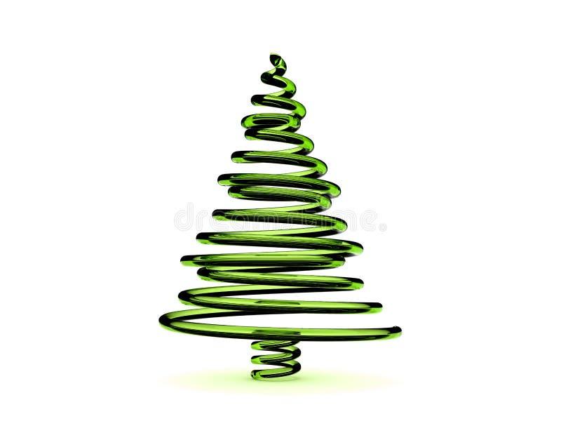 grünes Glas 3D Weihnachtsbaum stock abbildung