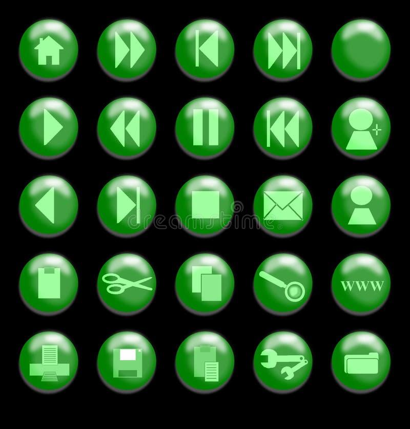 Grünes Glas-Tasten auf einem schwarzen Hintergrund lizenzfreie abbildung