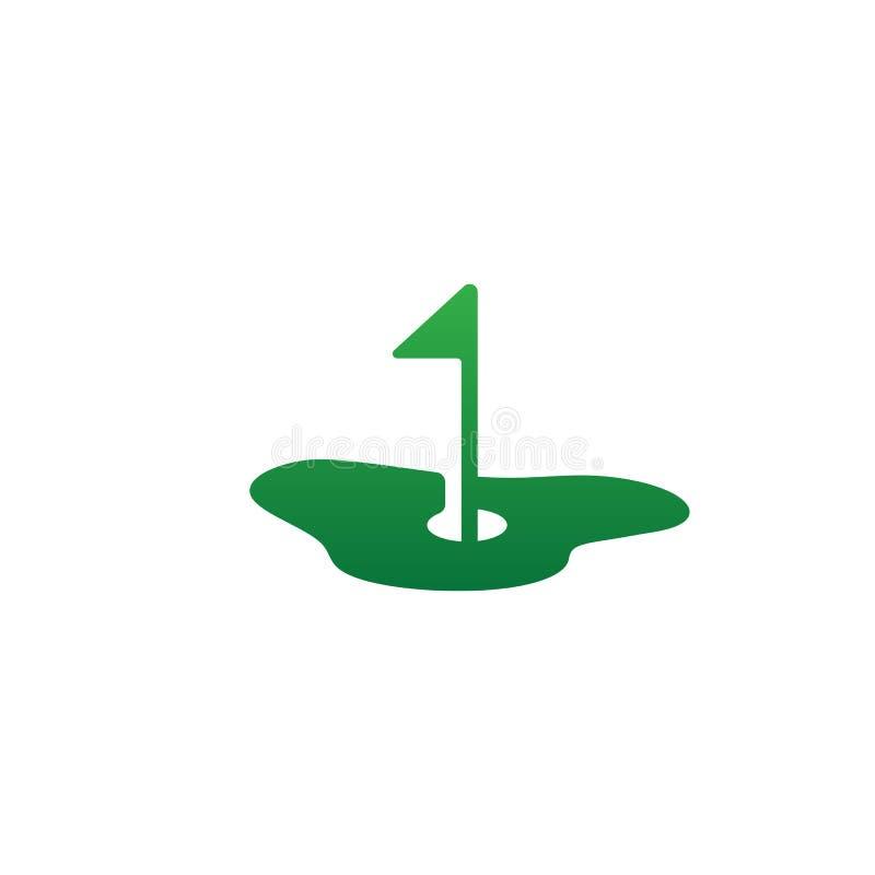 grünes Golflogoikonenvektor-Illustrationsgestaltungselement stock abbildung