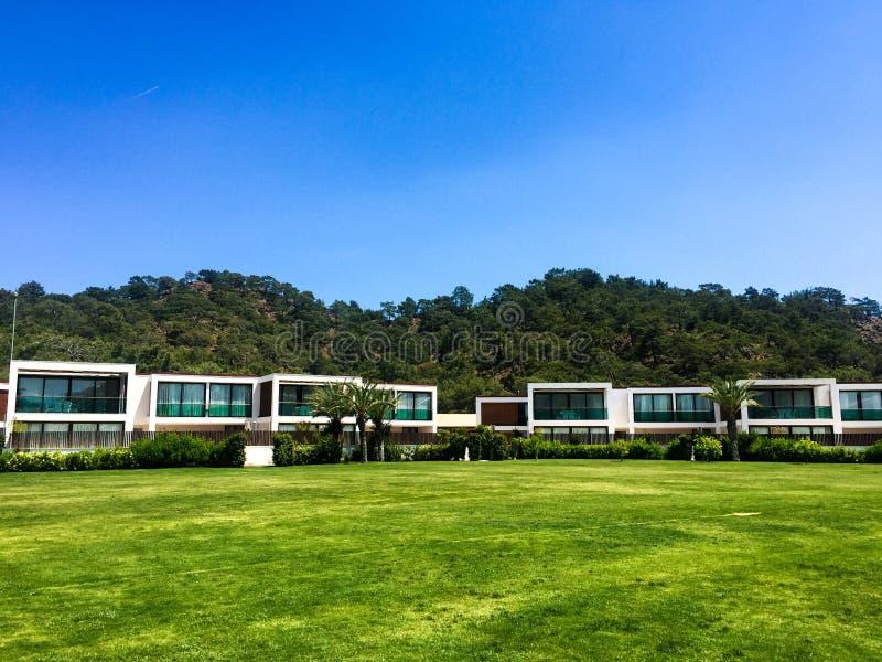 Grünes Gras der modernen Häuser stockfotos