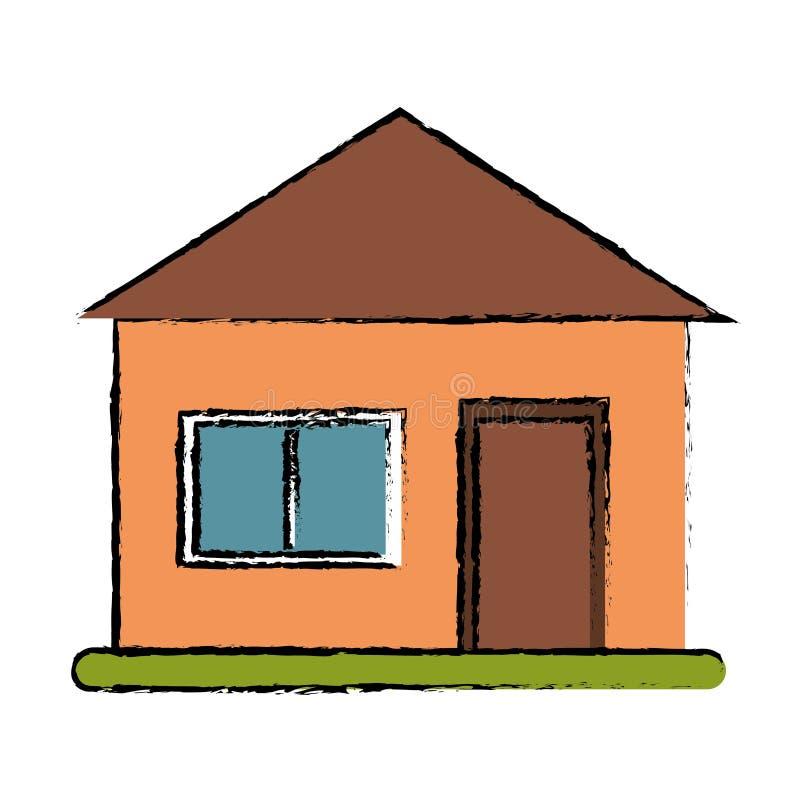 Grünes Gras der Zeichnungshausvorstadtarchitektur lizenzfreie abbildung