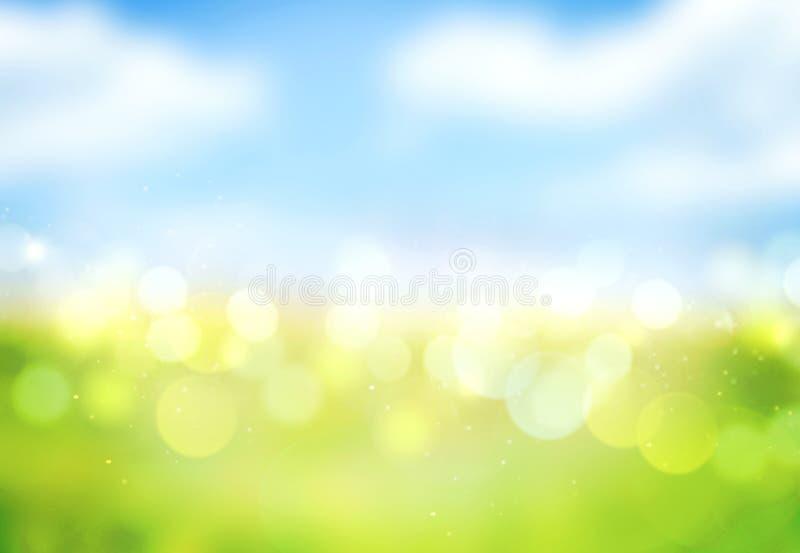 Grünes Gras des blauen Himmels verwischte bokeh Hintergrund vektor abbildung