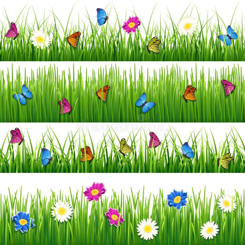 Grünes Gras mit Blumen und Schmetterlingen Nahtloser Vektorsatz vektor abbildung