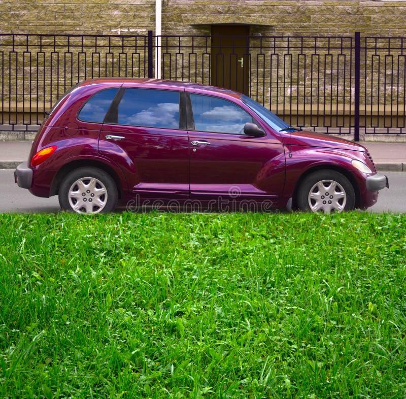 Grünes Gras, purpurrotes Auto stockbilder