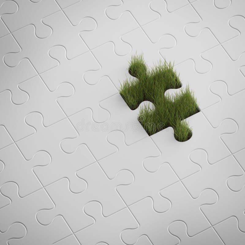 Grünes Gras vom Puzzlespiel lizenzfreie abbildung