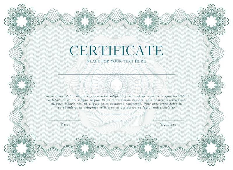 Grünes Guillochezertifikat oder Diplomschablonenhintergrund, modernes Design Auch im corel abgehobenen Betrag vektor abbildung