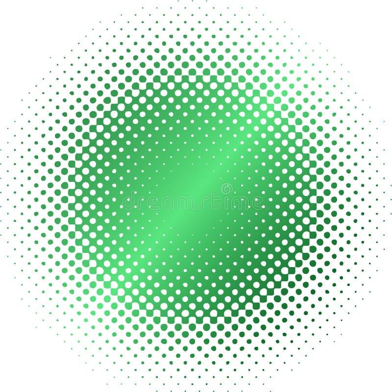 Grünes Halbtonkreisunschärfe stock abbildung
