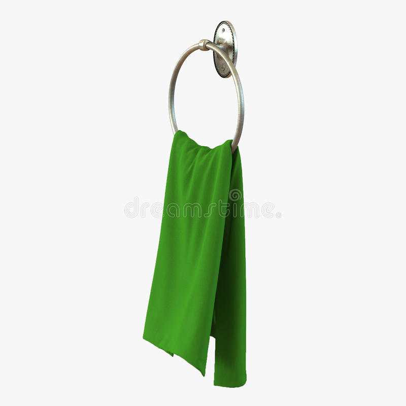 Grünes Handtuch auf rundem metallischem Aufhänger auf Weiß Abbildung 3D stock abbildung