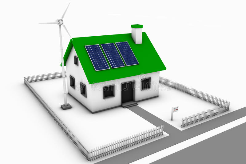 Grünes Haus für Verkauf lizenzfreie abbildung