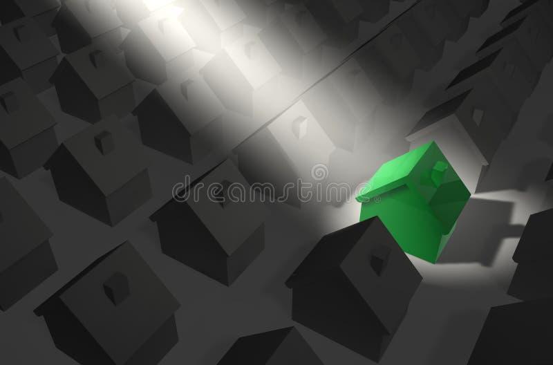 Grünes Haus im Scheinwerfer stock abbildung