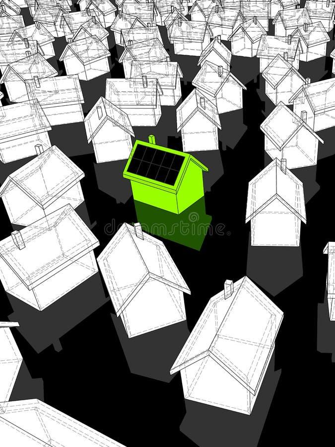 Grünes Haus mit Solarzellen lizenzfreie abbildung