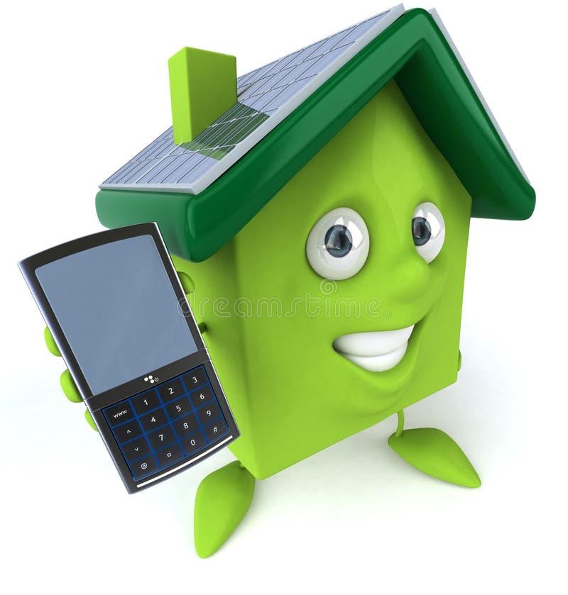 Grünes Haus mit Sonnenkollektoren vektor abbildung