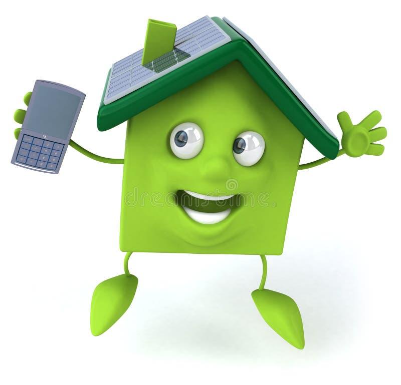 Grünes Haus mit Sonnenkollektoren stock abbildung