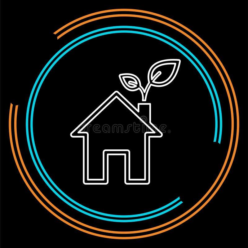 Grünes Haus und Blätter, eco Ikone lizenzfreie abbildung