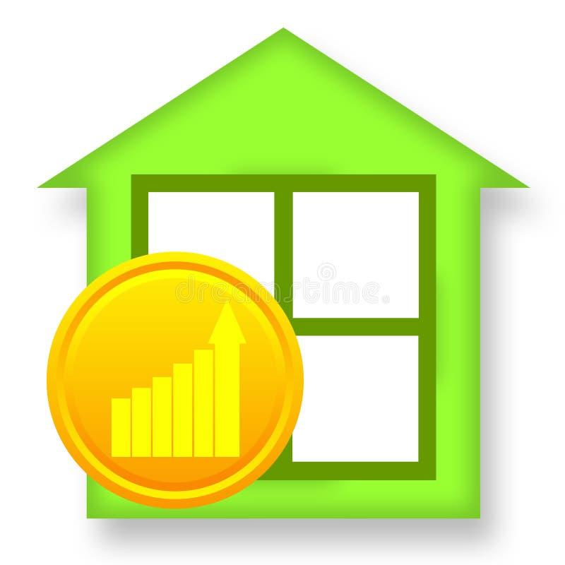 Grünes Haus und goldene Münze vektor abbildung