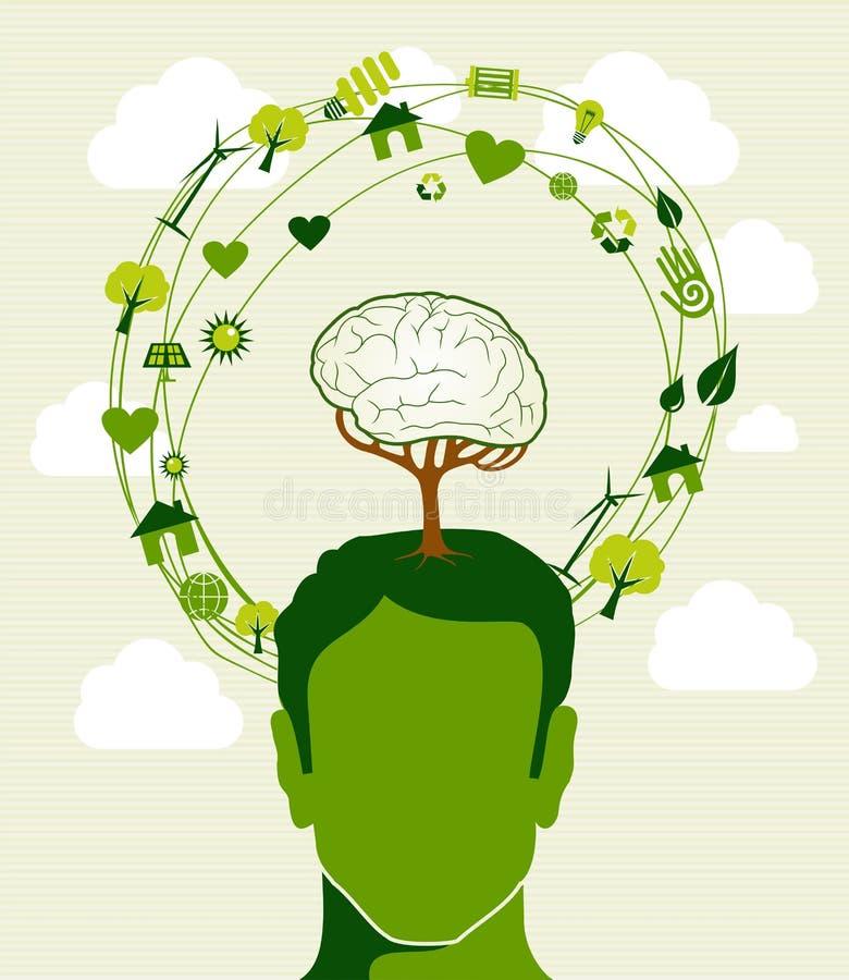 Grünes Ideenbaum-Kopfkonzept lizenzfreie abbildung