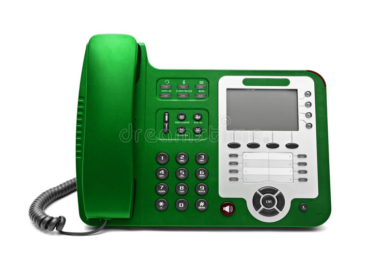 Grünes IP-Bürotelefon lokalisiert stockfoto