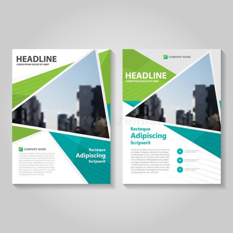 Grünes Jahresbericht Broschüren-Broschüren-Fliegerschablonendesign, Bucheinband-Plandesign, abstrakte blaue Darstellungsschablone lizenzfreie abbildung