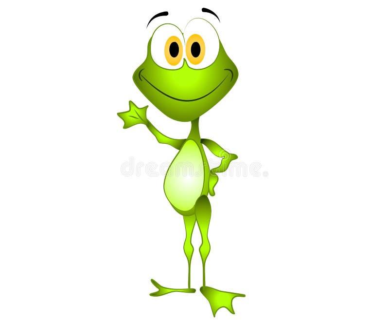 Grünes Karikatur-Frosch-Wellenartig bewegen stock abbildung