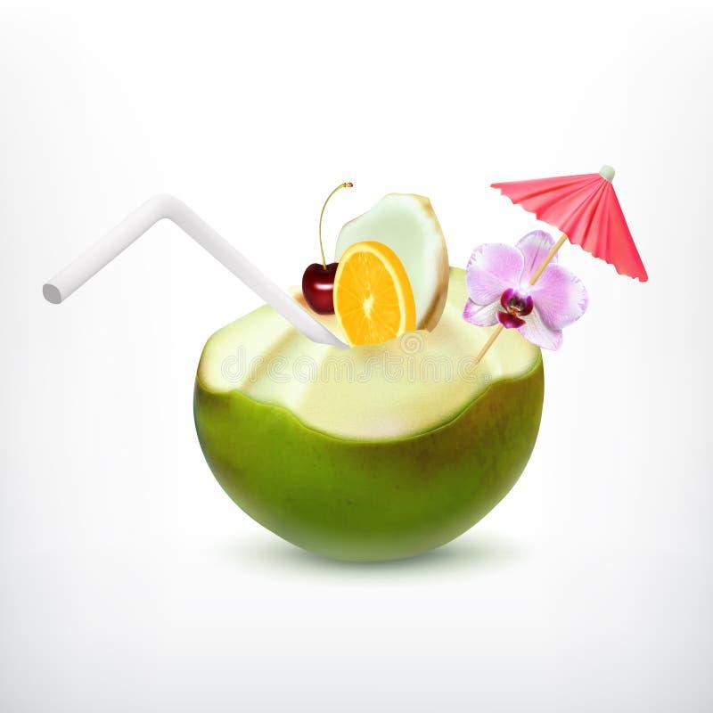 Grünes Kokosnusscocktail lizenzfreie abbildung