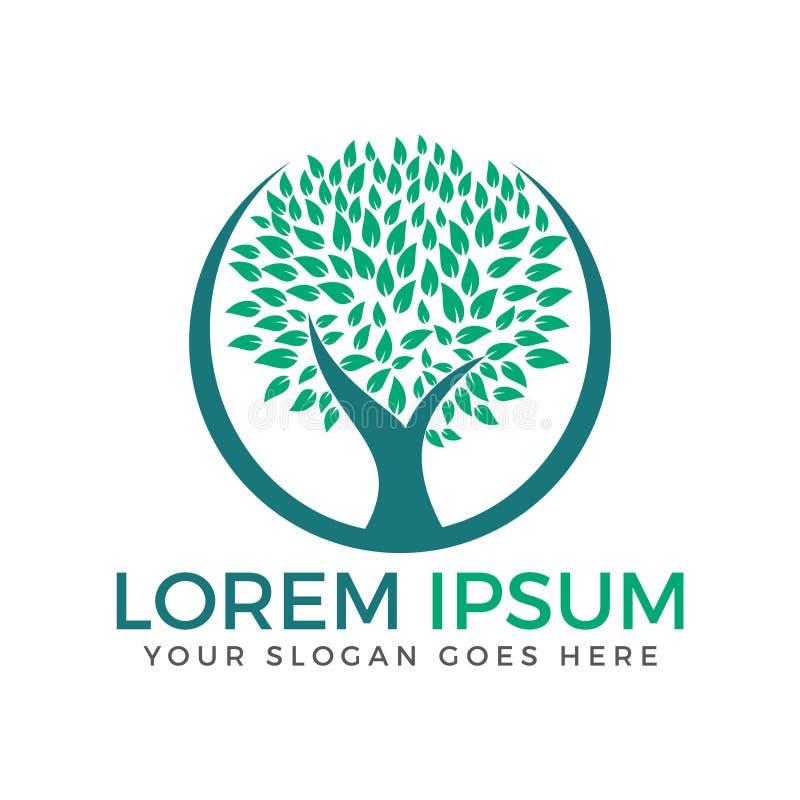 Grünes Kreis-Baumvektor-Logodesign stock abbildung