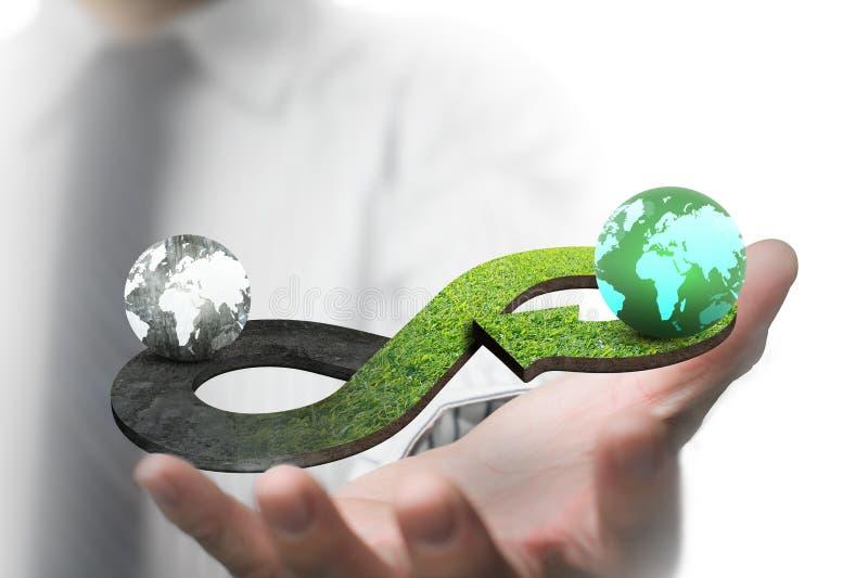 Grünes Kreislaufwirtschaftskonzept stockfoto