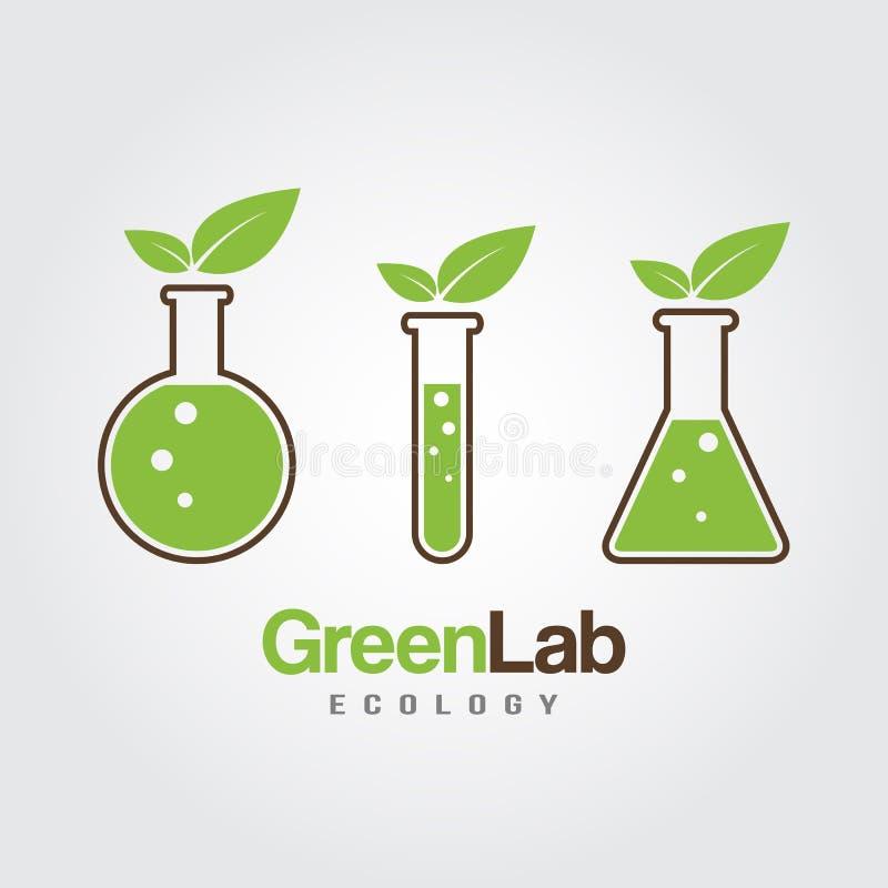 Grünes Laborikonenlogo lokalisiert Organisches Labor Ökologie stock abbildung