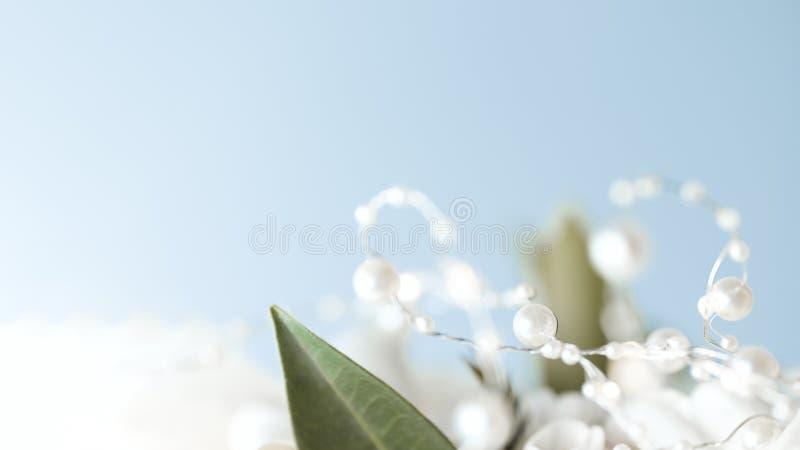 Grünes Laub verziert mit einer Girlande von Perlen auf einem blauen Hintergrund lizenzfreie stockfotos