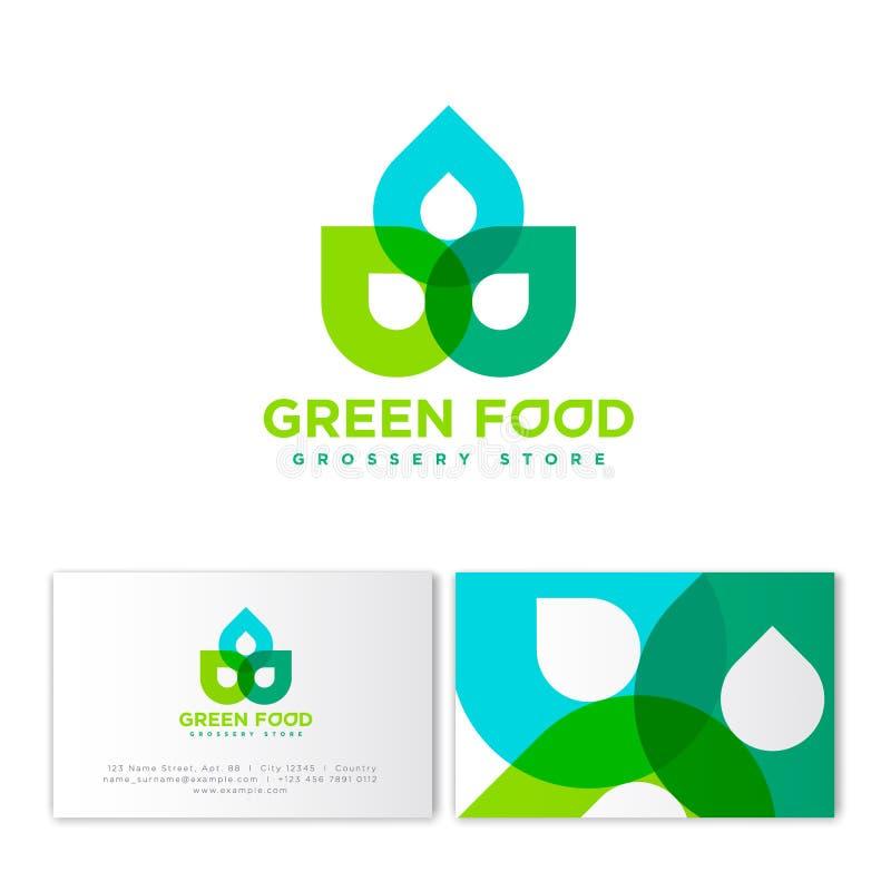Grünes Lebensmittel-Logo Gemischtwarenladenemblem Abstrakte transparente Zahlen von grünen Elementen stock abbildung