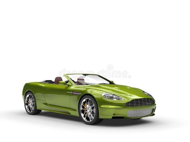 Grünes metallisches Kabriolett trägt Motor- Studioschönheitsschuß zur Schau lizenzfreies stockbild