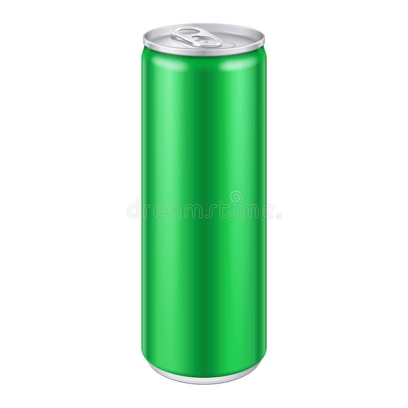 Grünes Metallkann aluminiumgetränkegetränk Bereiten Sie für Ihre Auslegung vor Abbildung 3d, auf weißem Hintergrund vektor abbildung