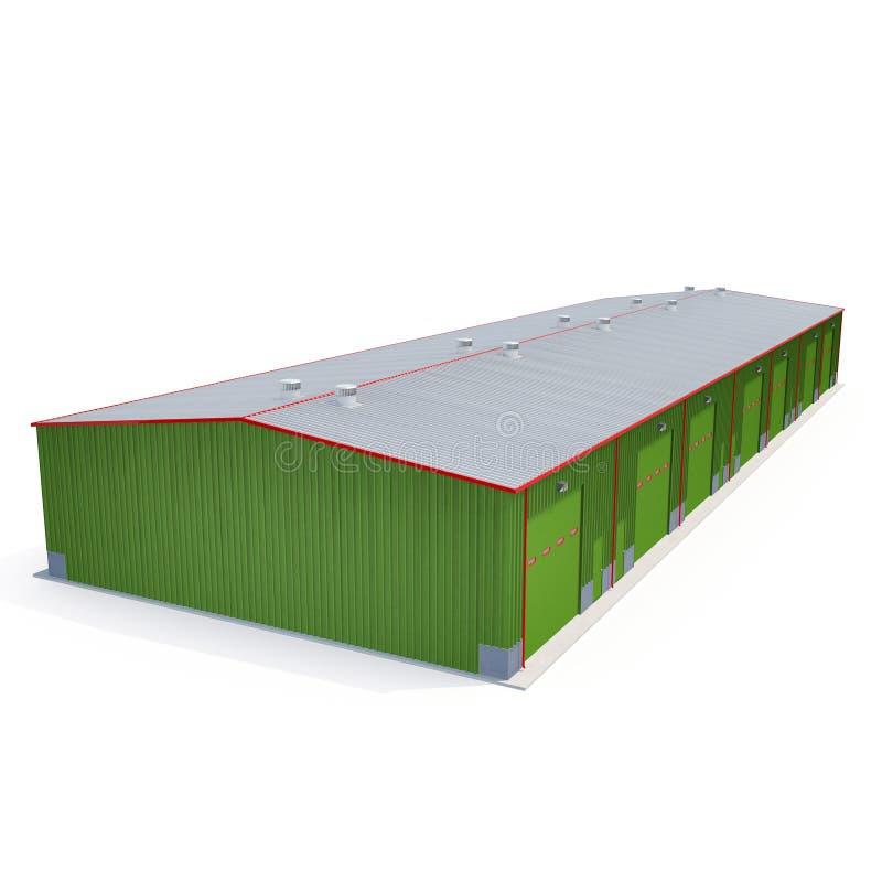 Grünes Metalllager-Gebäude auf Weiß Abbildung 3D stock abbildung