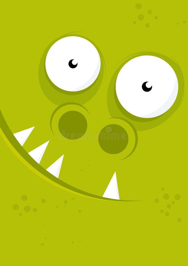 Grünes Monstergesicht stock abbildung