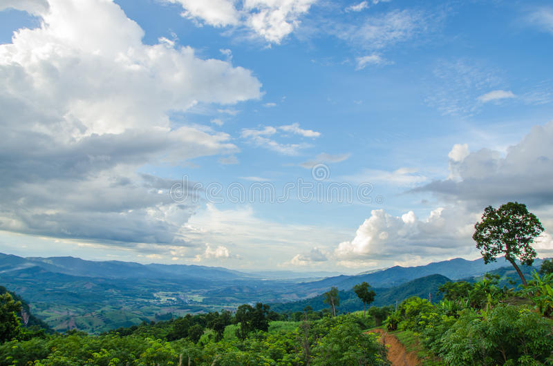 Grünes moutain mit blauem Himmel stockbild