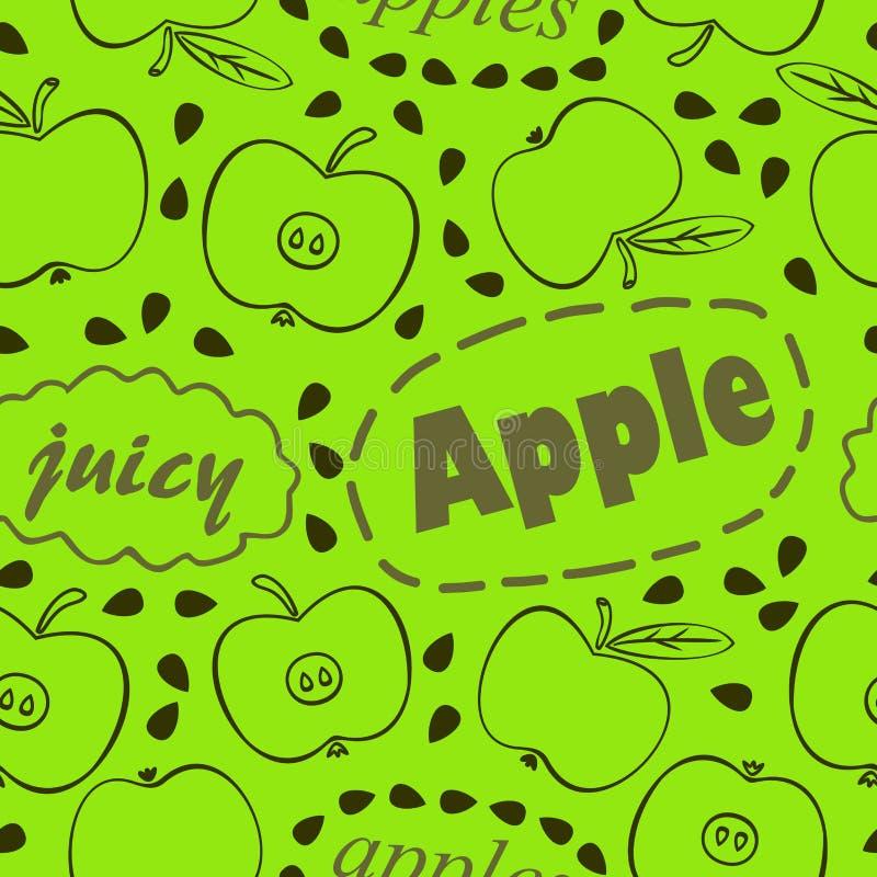 Grünes Muster mit Äpfeln vektor abbildung